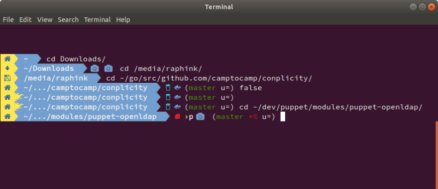 Here is mine: bash with nerd fonts, tuned git prompt, icons