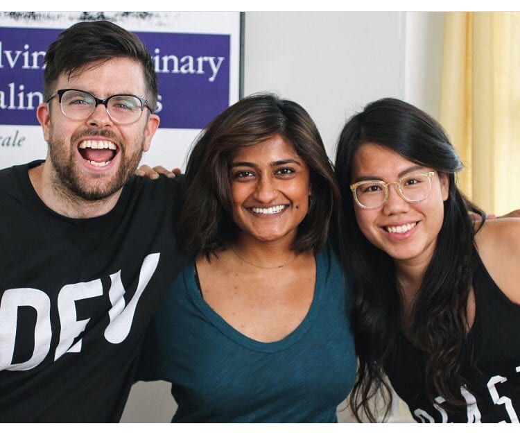 A photo of Ben, Vaidehi, and Jess in the early days.