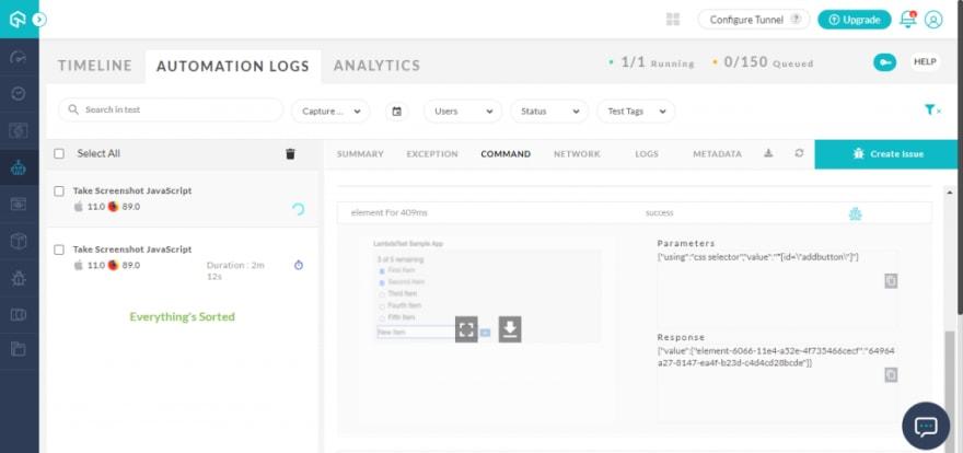 view screenshots on LambdaTest