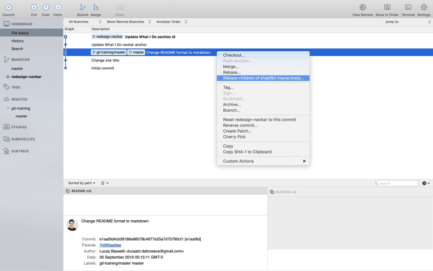 Sourcetree rebase interactively