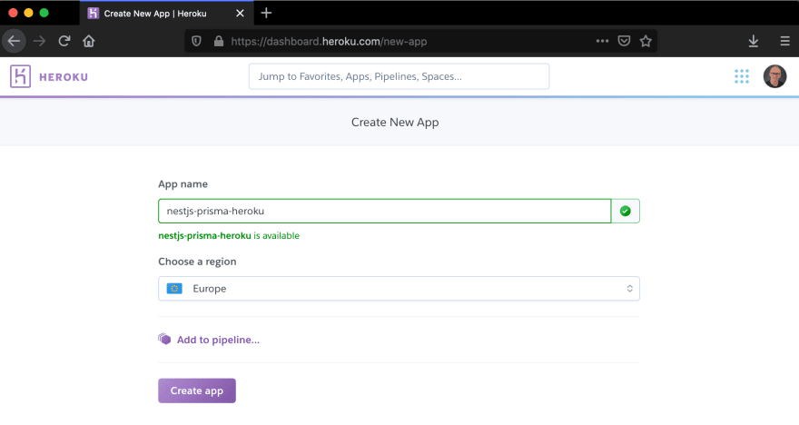 Create new Heroku app
