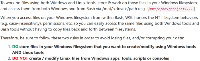 Do not change Linux files using Windows apps and tools