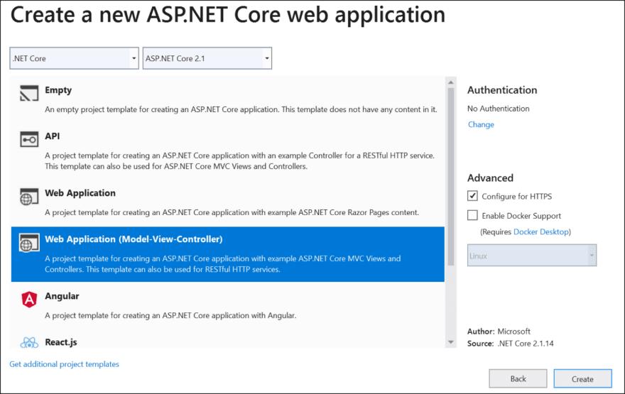 Create a new ASP.NET Core Web application dialog box
