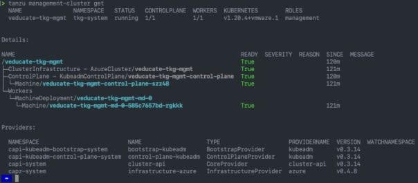 Deploy Management cluster to Azure - tanzu management cluster get