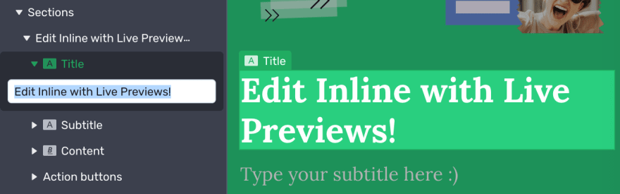 Example of inline editing, with heading selected in a live preview and a text area on the left to edit it