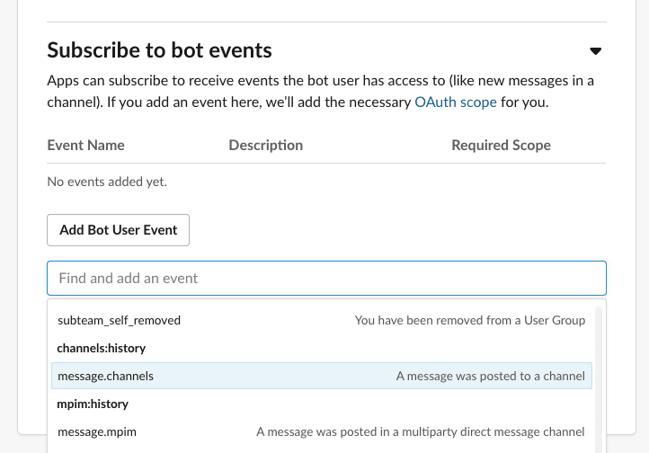 Searching for message.channels event to add to the bot user events