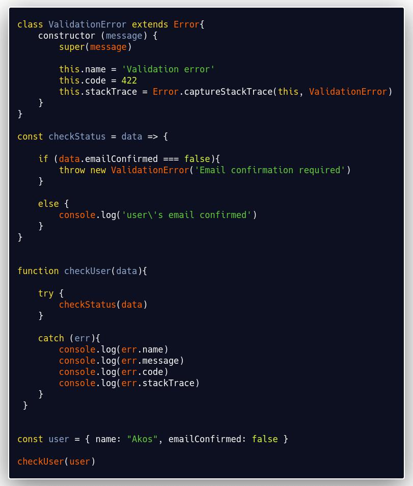 extending the Error object to create a custom error