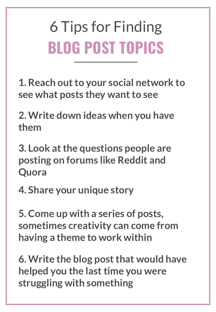 Tips for coming up with a blog topic