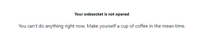 your websocket is not opened. make yourself a cup of coffee in the mean time