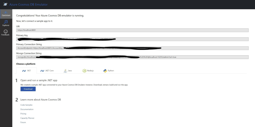 Azure Cosmos DB Emulator connection string page