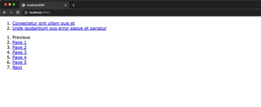Screenshot of the browser with our pagination output