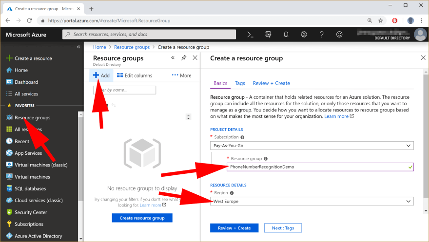 image showing Creating Resource Group in Azure
