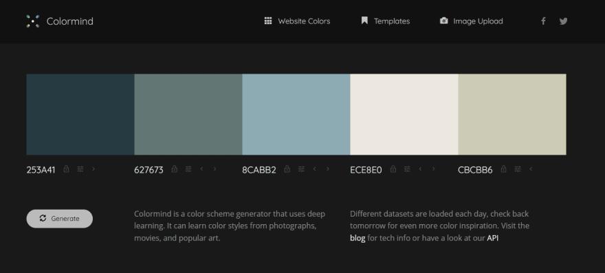 Colormind homepage