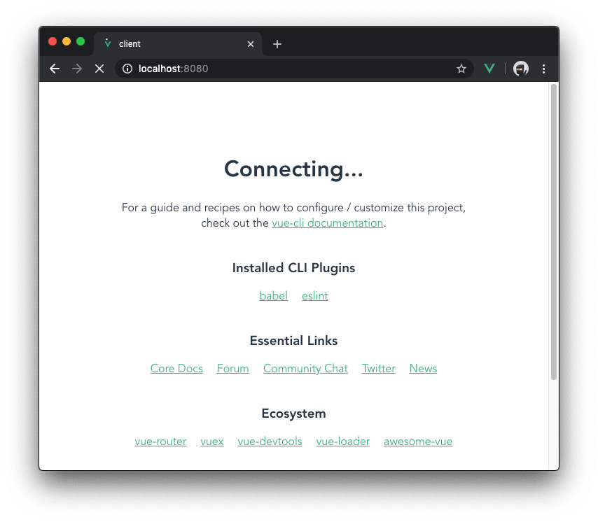 Screenshot of the Vue.js client connecting to the Express.js server