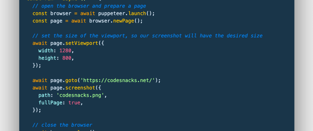 Cover image for 📷 How to take a screenshot of a webpage with JavaScript in Node.js (using puppeteer)
