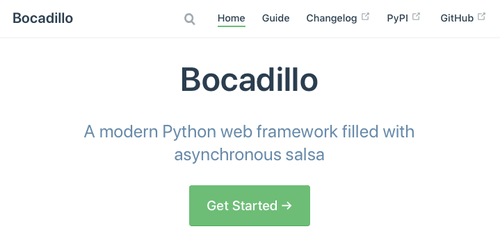 Bocadillo's documentation site home page (end of November, 2018).