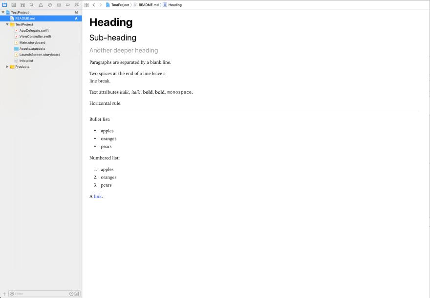 Rendering Markdown in Xcode 9 - DEV Community 👩 💻👨 💻