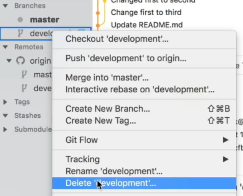 Cursor on menu item that says delete development