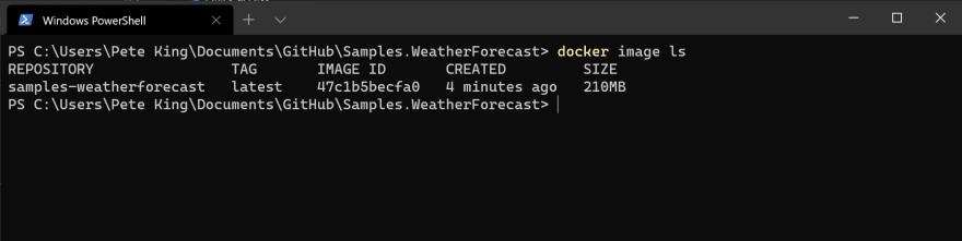 Terminal docker image ls