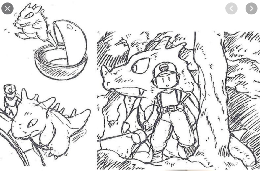 First sketches of the Pokémon games, showing the player, Red, and the Pokémon Rhydon