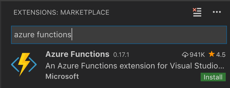 VSCode Extensions - Install Azure Functions
