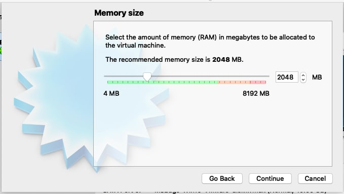 """Select 2048MB RAM and click """"Continue"""""""