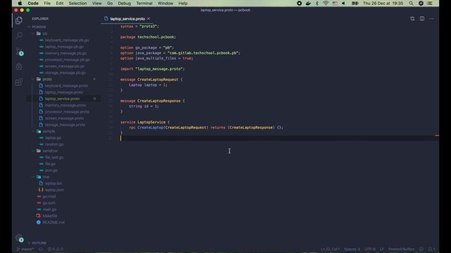 Define laptop_service.proto file