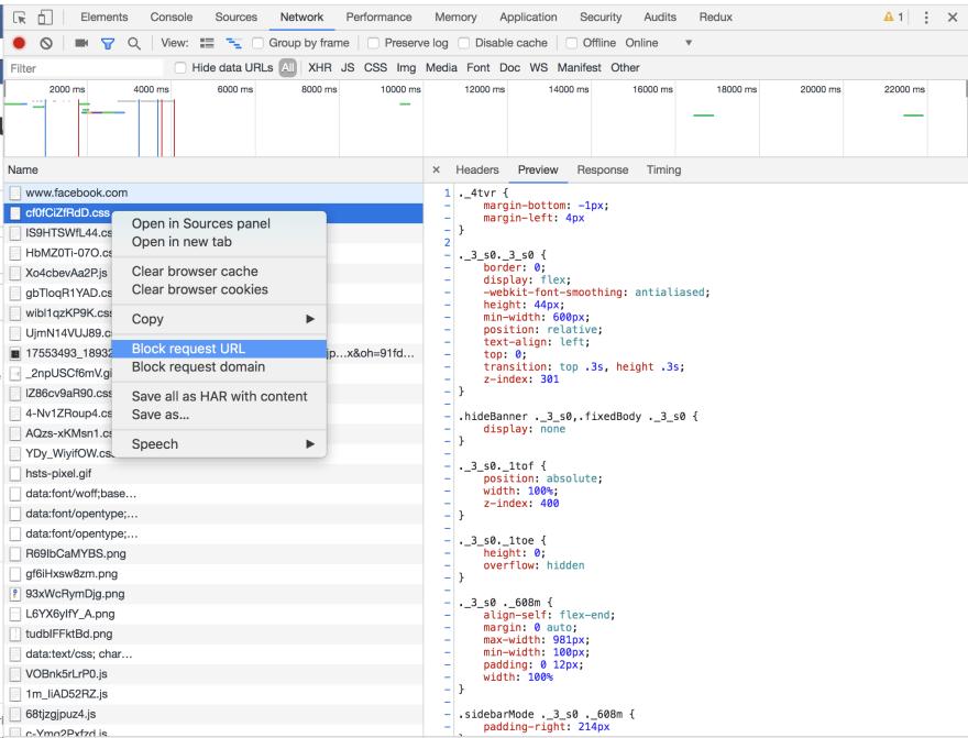 Dev tools network tab