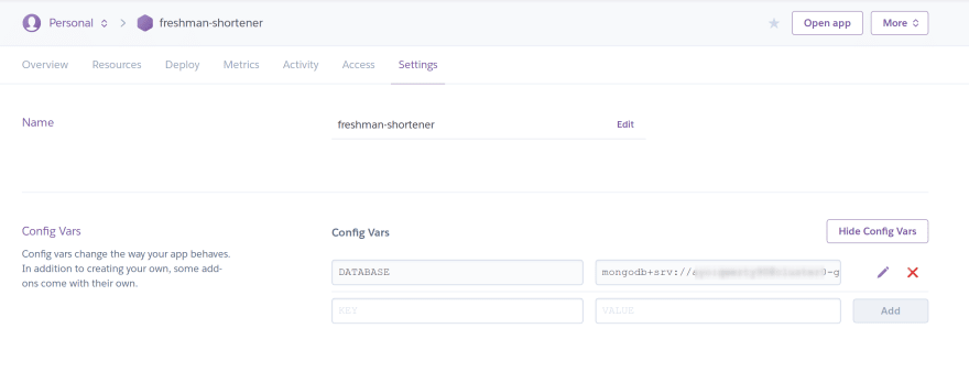 Set up Heroku config values