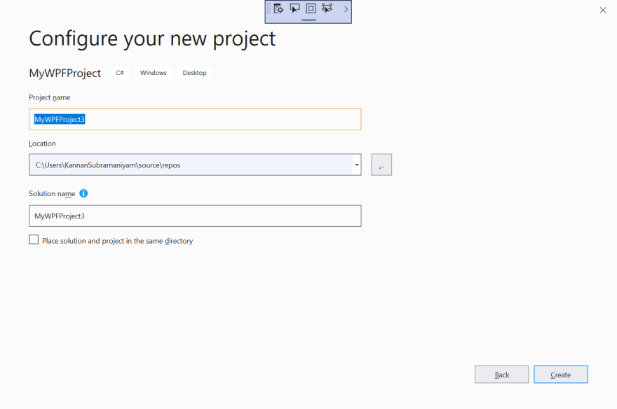 Configure your new project dialog