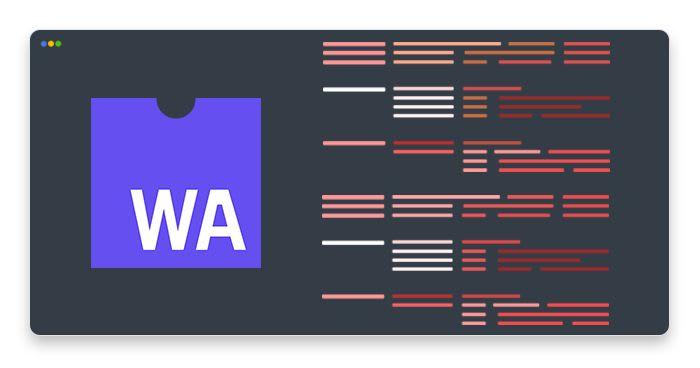 artwork depicting WebAssembly logo and red error messages