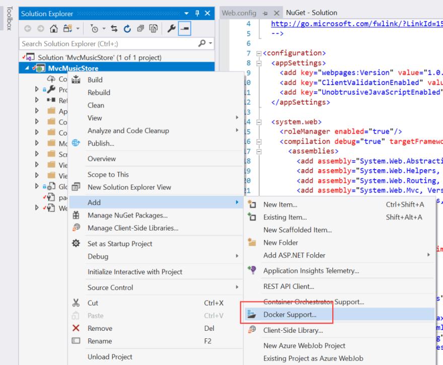 Add Docker support in Visual Studio