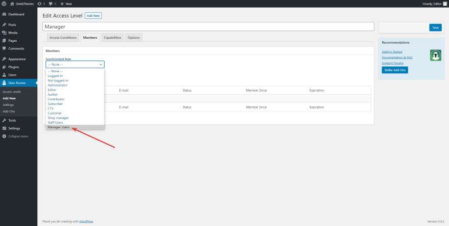Synchronize the Restrict User Access plugin with User Roles