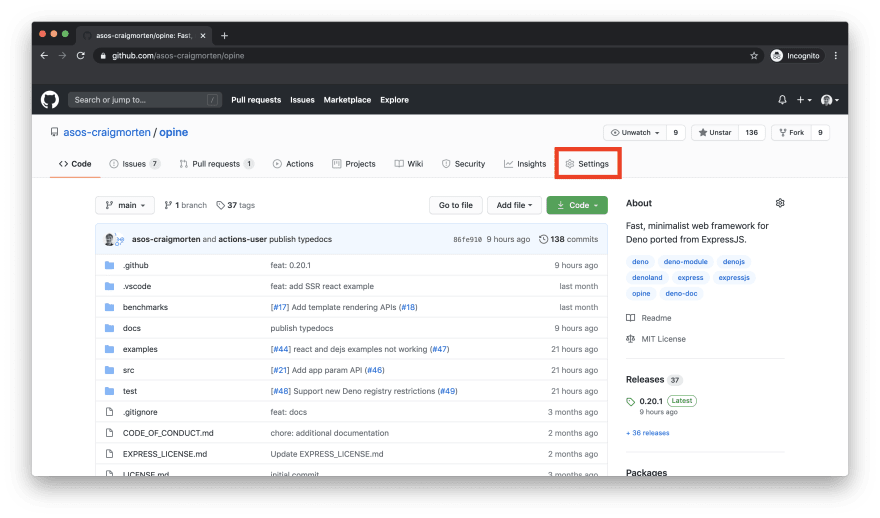 GitHub repository home page with highlighted settings tab