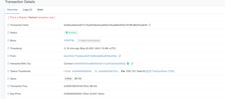 Newly Minted NFT Etherscan