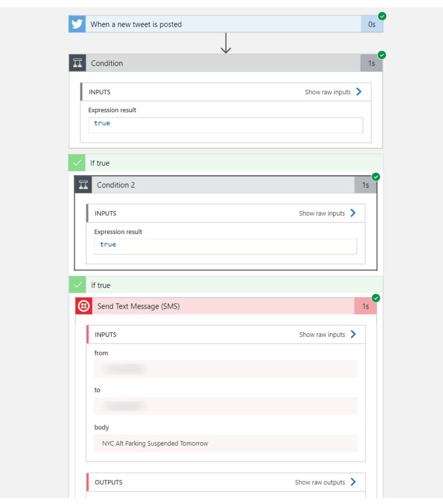 Screenshot of Logic App log