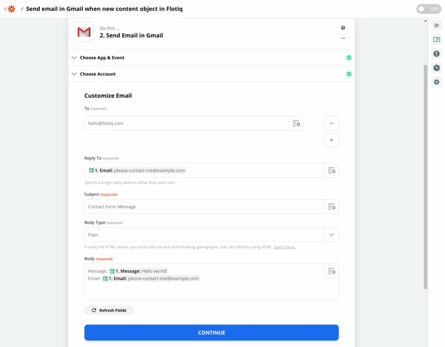 Zapier configuration for Flotiq-based Contact Forms