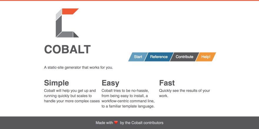 Homepage of cobalt.rs, a static site generator written in Rust