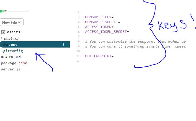 A screenshot showing the .env file and the location of the API keys in the Glitch environment