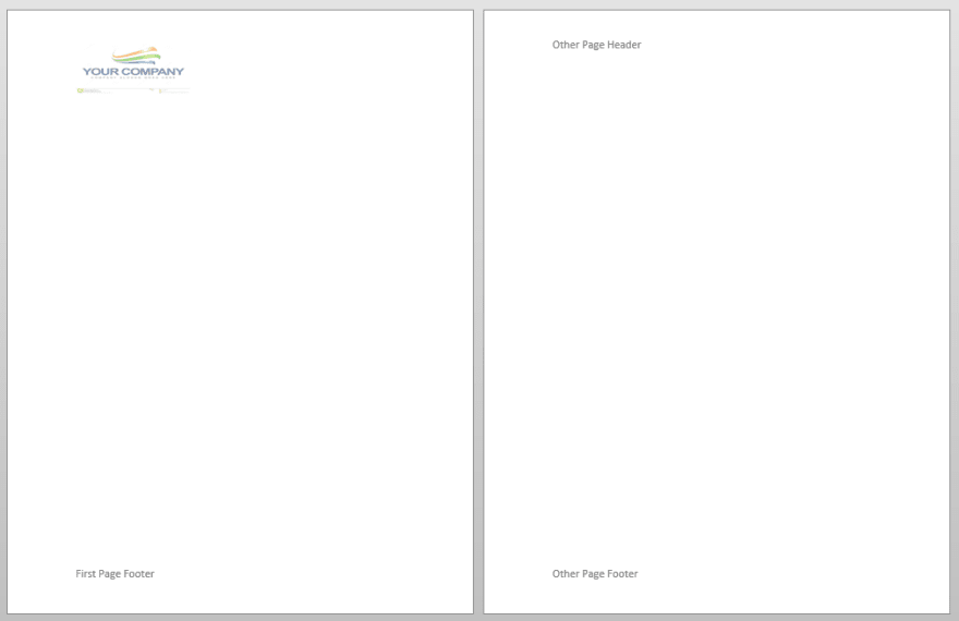different first page header and footer