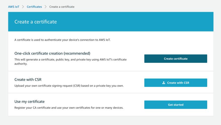 AWS IoT Core Certificate Create One Click.