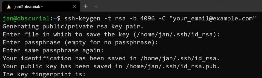 Generating a new SSH Key