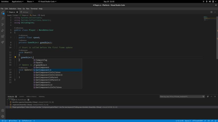 vscode com autocomplete pro Unity3D