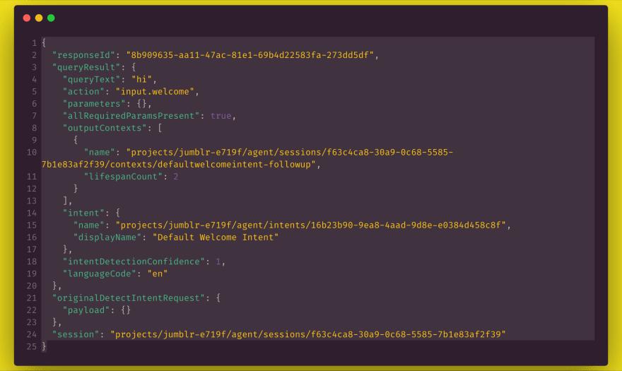 Dialogflow request JSON
