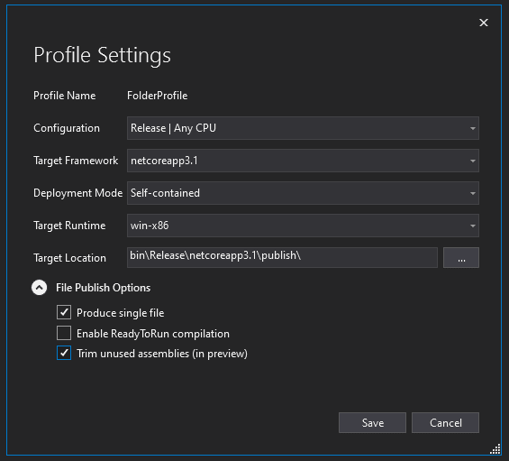 Visual Studio configure publishing window