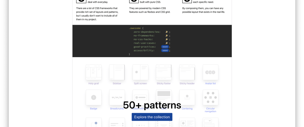 Cover image for CSS Layout: A collection of popular layouts and patterns made with CSS