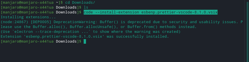 VScodium extension install successfully