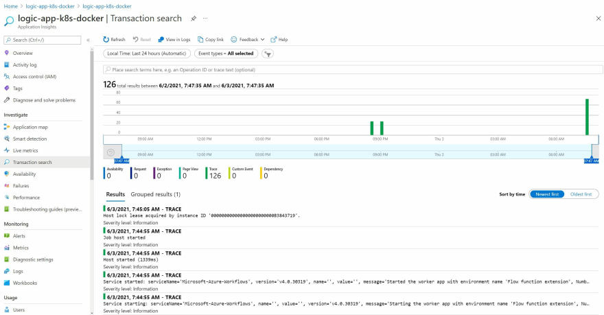 Screenshot showing the App Insights output a Logic App deployed using the Docker Method in an Application Service Kubernetes Environment