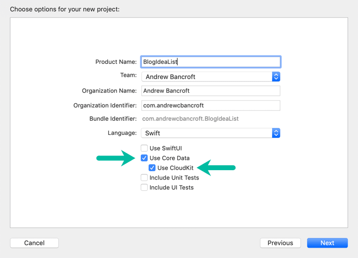 Enable Core Data and CloudKit