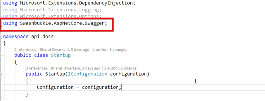 Including Swagger namespace